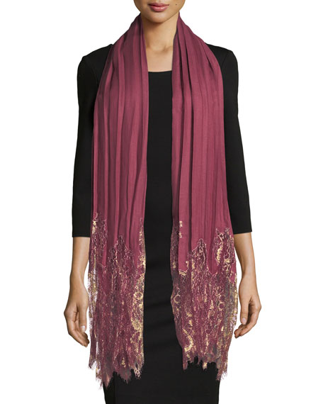 Valentino Flat Plisse Shawl w/ Metallic Lace