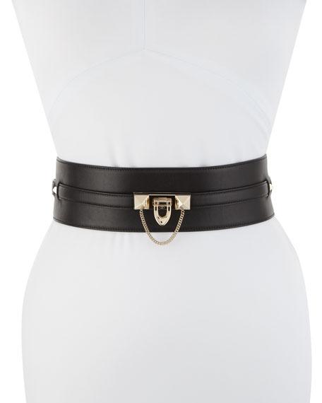 Wide Lock Calf Leather Belt