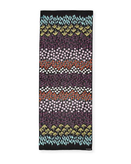 Flower Rows Silk Shawl