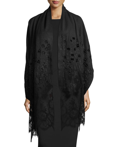 Cashmere Floral-Embroidered Lace-Trim Shawl