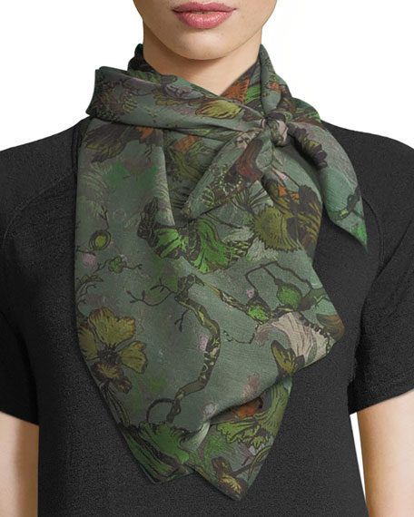 Rag & Bone Floral-Print Silk Camo Scarf