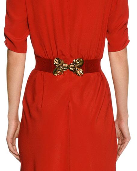 N°21 Cotton Blend Embellished Buckle Belt in Red