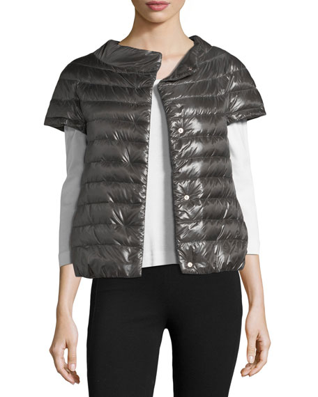 Herno Short-Sleeve Snap-Front Quilted Puffer Jacket