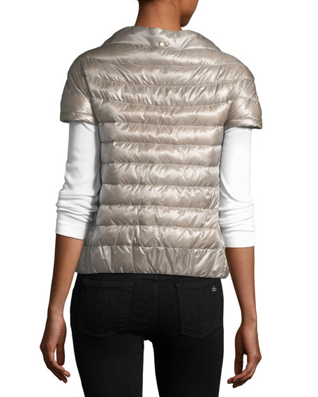 Short-Sleeve Snap-Front Quilted Puffer Jacket