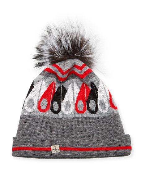 Logo Argyle Wool-Blend Beanie Hat w/ Fox Fur