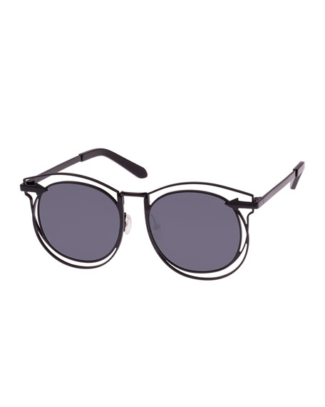 Karen Walker Superstars Simone Round Monochromatic Sunglasses