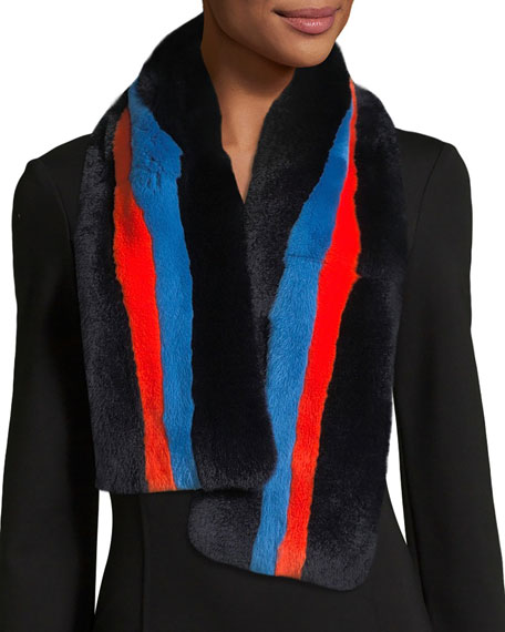 Lars Striped Rectangle Fur Scarf