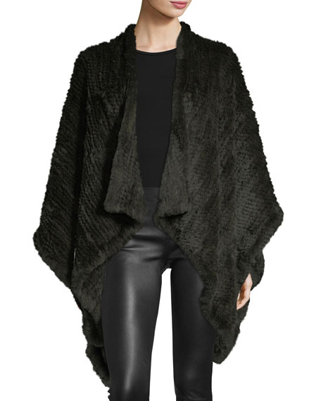 Adrienne Landau Knit Fur Cape