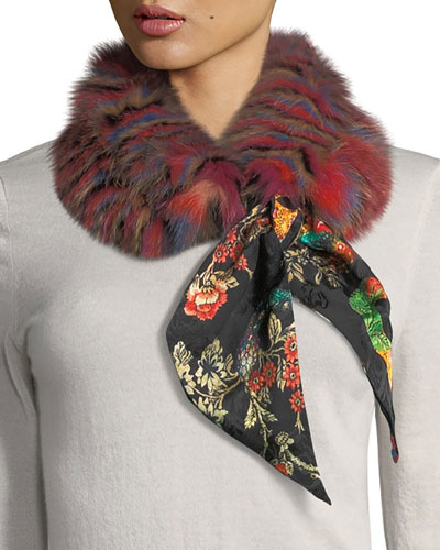 Fur-Trim Tiger Print Scarf