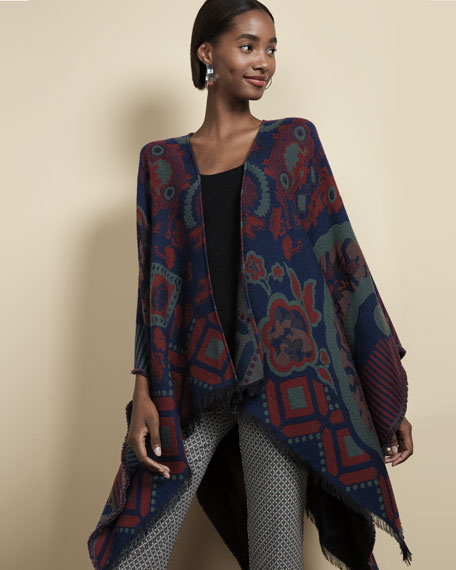 Wool-Blend Cape w/ Fringe Trim