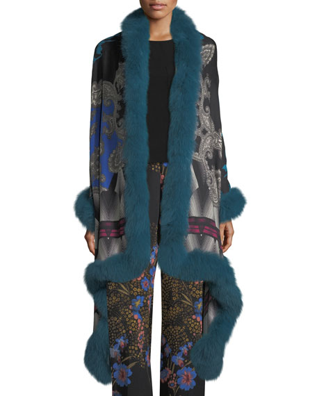 Etro Paisley Shawl with Fur Trim