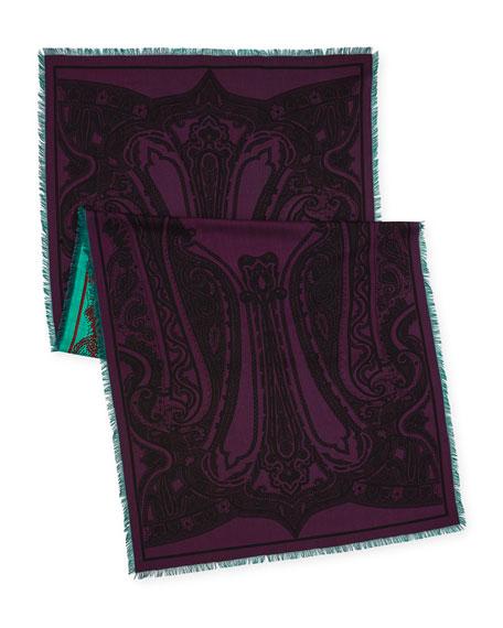 Reversible Double-Print Paisley Scarf