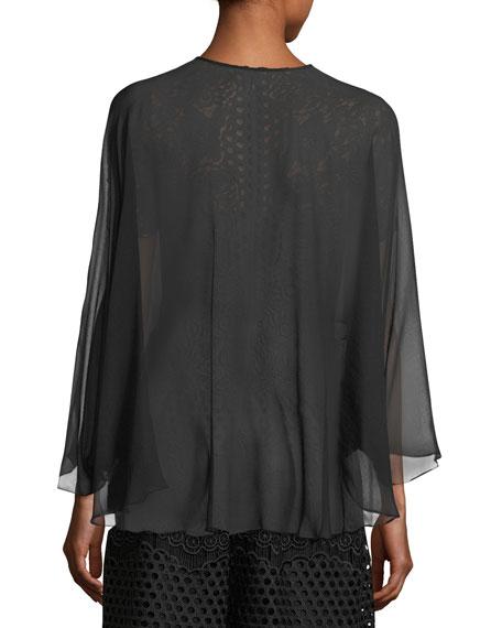 Open-Front Long-Sleeve Sheer Silk Shrug
