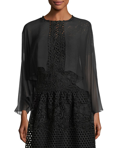Rickie Freeman for Teri Jon Open-Front Long-Sleeve Sheer