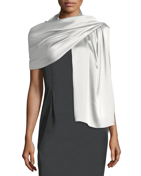 St. John Collection Liquid Satin Wrap, Gray