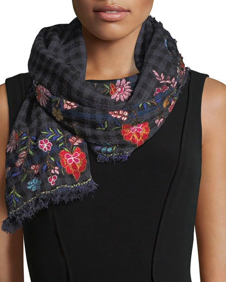 Mountain Checkered Floral Scarf