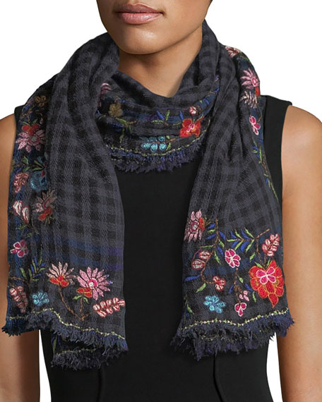 Faliero Sarti L'Acessorio Mountain Checkered Floral Scarf