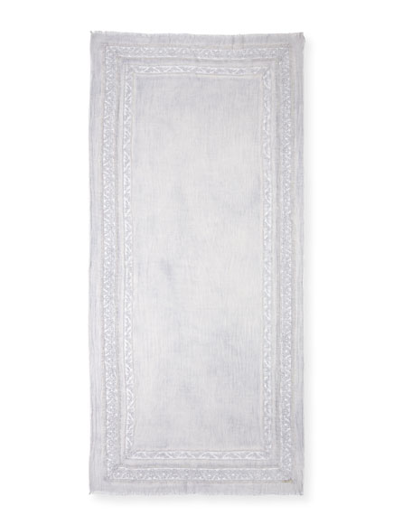 Angie Virgin Wool-Blend Lace-Trim Scarf