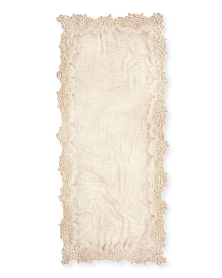Maddina Wool-Blend Lace-Trim Scarf