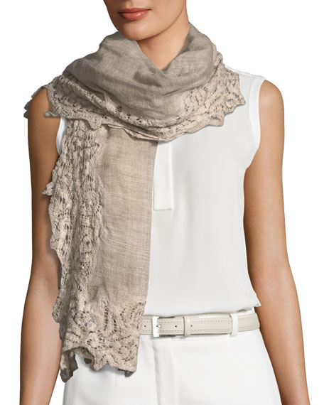 FALIERO SARTI Maddina Wool-Blend Lace-Trim Scarf in Beige
