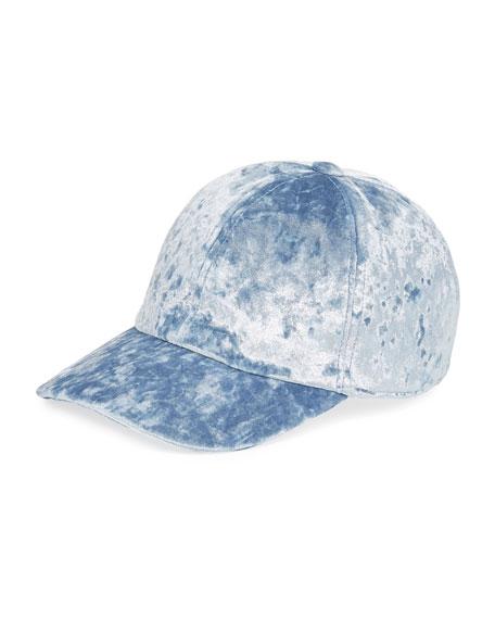 Federica Moretti Velvet Baseball Cap, Blue