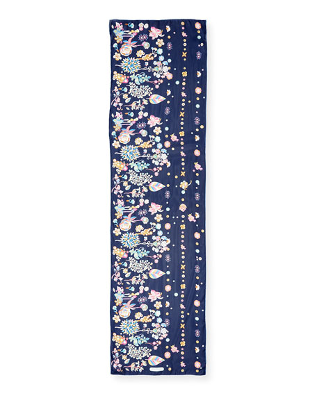 Ercole Chinese Zodiac-Print Silk Scarf, Blue