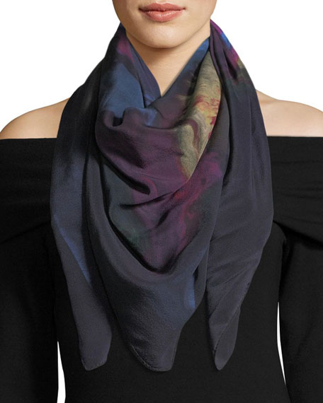 Lisa King Solferino Square Silk Twill Scarf