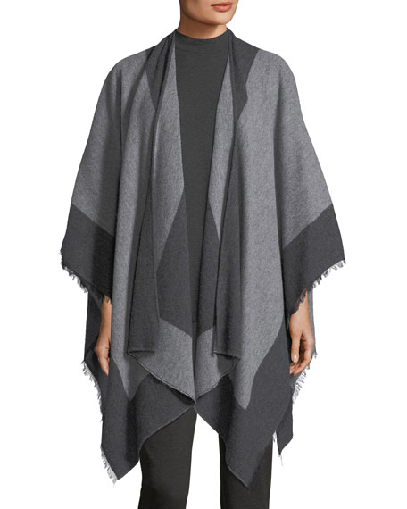 Eileen Fisher Colorblocked Bordered Wool Serape