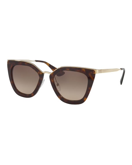 Prada Gradient Metal-Trim Geometric Cat-Eye Sunglasses, Havana