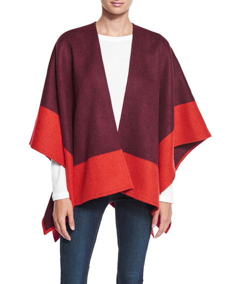 Double-Face Colorblock Merino Wool Wrap