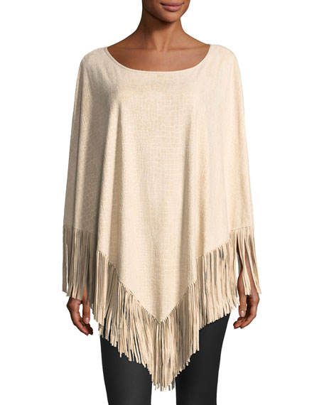 Fringed-Hem Embossed Poncho