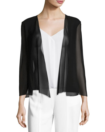 Open-Front Georgette Evening Cape Coverup