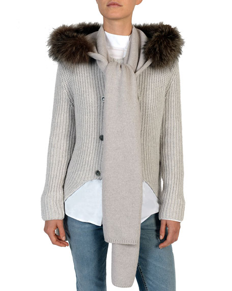 Fox Fur-Trimmed Wool Hooded Scarf