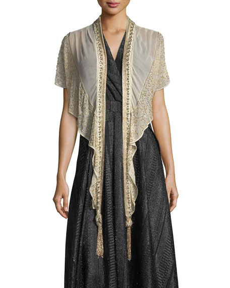 Haute Hippie Galaxy Open-Front Beaded Chiffon Evening Wrap