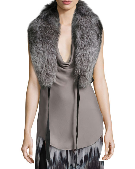 Haute Hippie Judy Fox Fur Shawl Collar W/