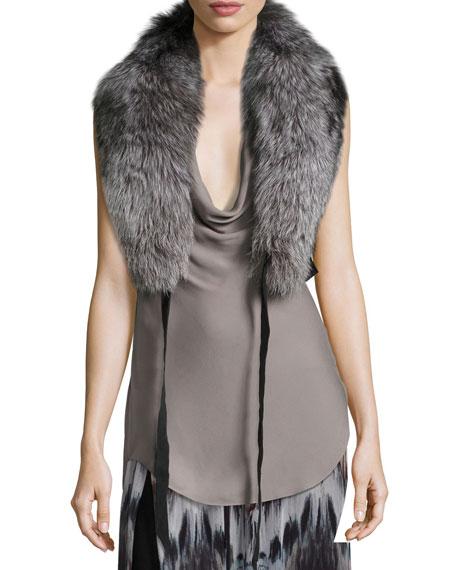 Judy Fox Fur Shawl Collar W/ Leather Straps