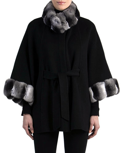 Cashmere Belted Cape with Chinchilla Fur