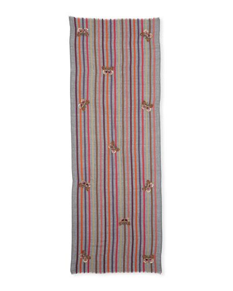 Butterfly Wool-Silk Striped Scarf