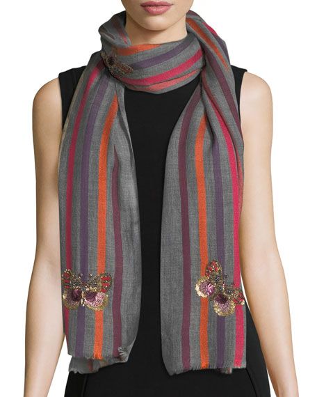 K Janavi Butterfly Wool-Silk Striped Scarf