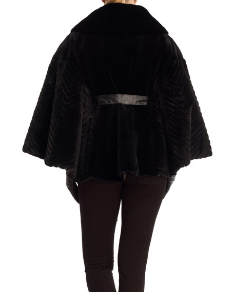 Belted Sheared Mink Poncho with Chevron Accents