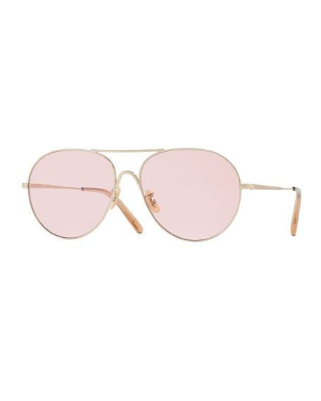 Oliver Peoples Rockmore Metal Oversized Pilot Sunglasses, Rose