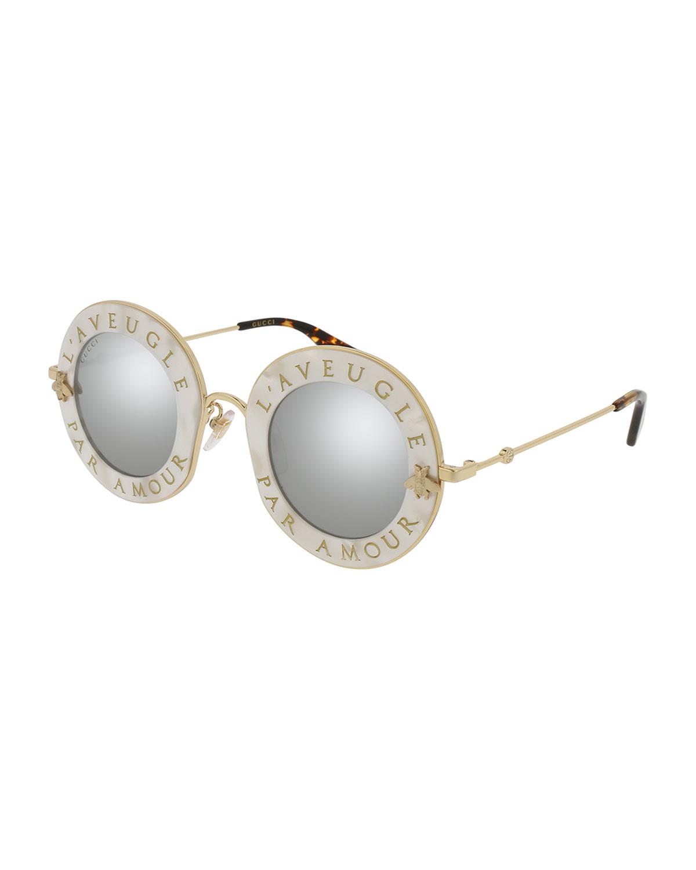 f73f8ed1f10 Gucci L Aveugle Par Amor Round Mirrored Sunglasses