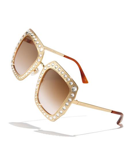 Oversized Square Metal Sunglasses w/ Swarovski® Frame Front