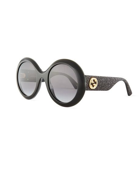 Gucci Rounf GG Glitter Sunglasses