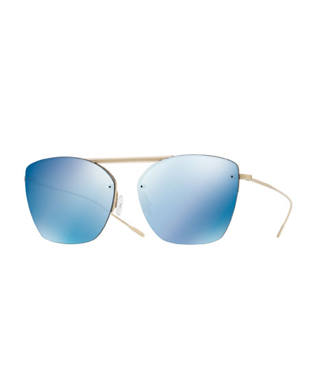 Oliver Peoples Ziane Rimless Photochromic Mirrored Sunglasses