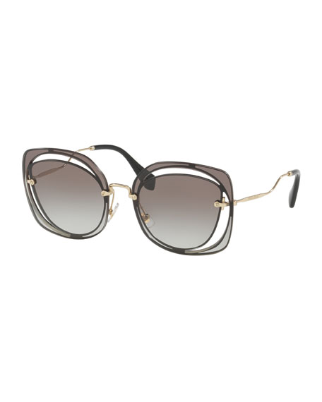 Miu Miu Gradient Square Cutout Metal Sunglasses