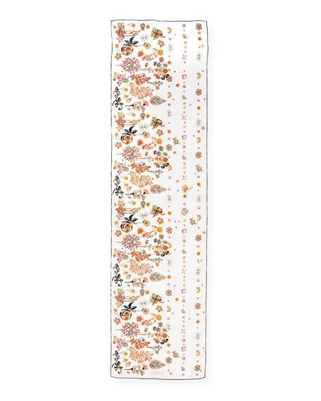 Ercole Chinese Zodiac-Print Silk Scarf, White