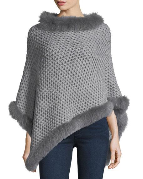 Il Borgo Seed-Stitched Cashmere Fox-Trim Poncho, Gray