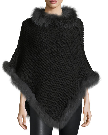 Il Borgo Cable-Knit Cashmere Fox-Trim Poncho, Black