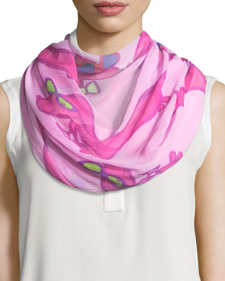 Anna Coroneo Silk Chiffon Square Hot Dogs Scarf,